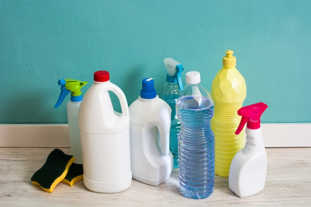 Cleaning products on white floor