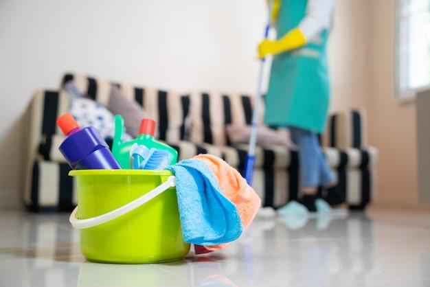 清掃サービス。スポンジ、化学薬品、モップ Premium写真