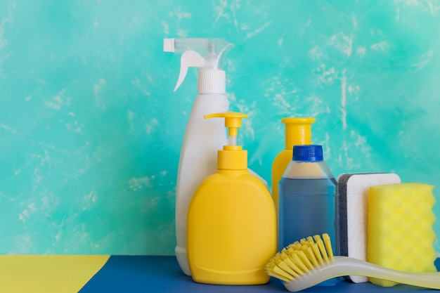 Cleaning set for different surfaces in kitchen, bathroom and other rooms