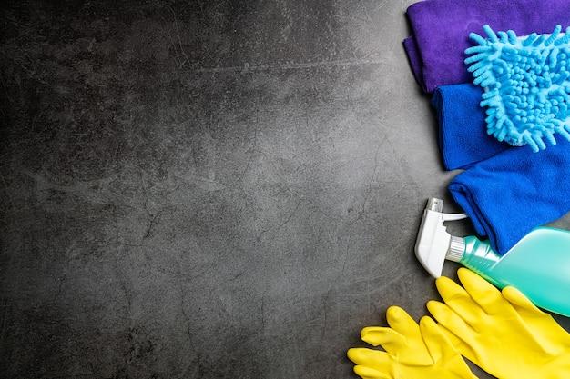 ハウスケア用のクリーニングセット、健康的な生活のためのクリーニング。上面図
