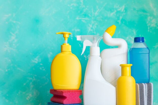 Cleaning supplies on green