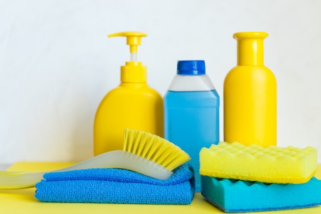 Cleaning supplies on white