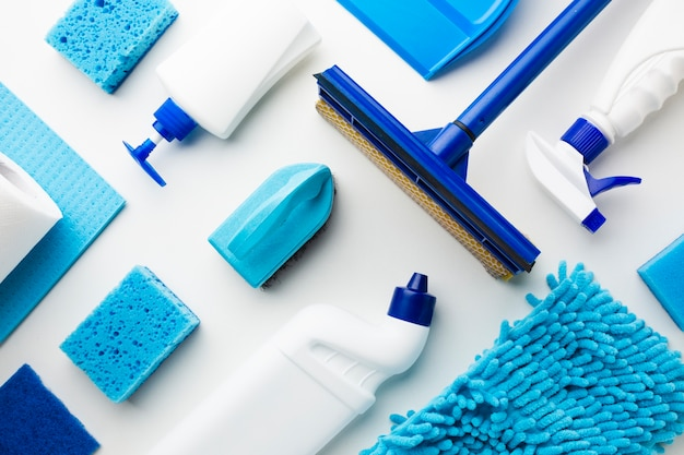 Cleaning tools composition flat lay