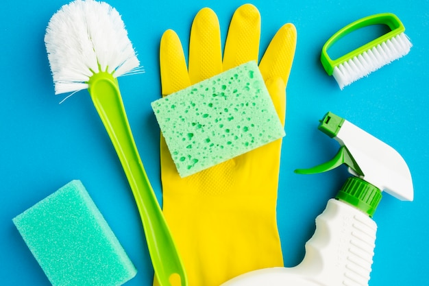 Cleaning tools on rubber glove