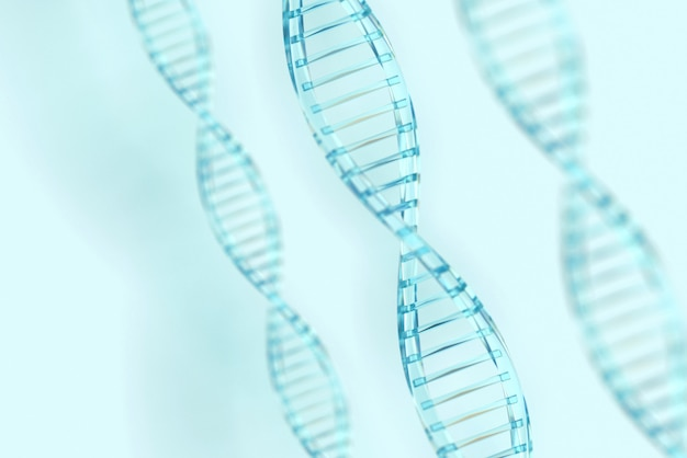 Clear blue dna structure with light background