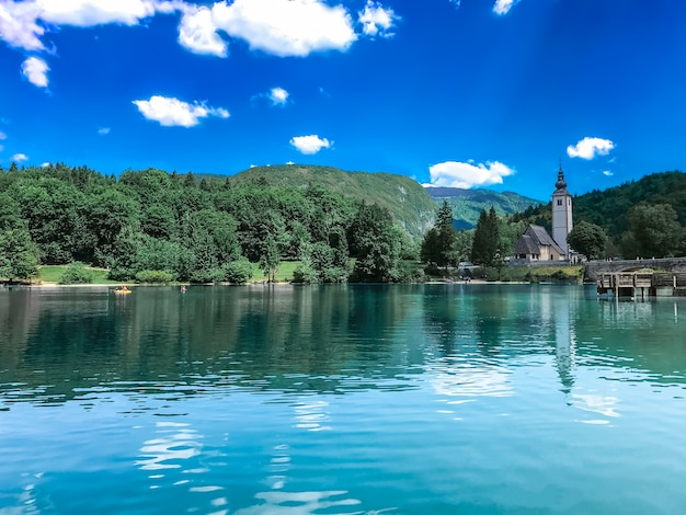 Clear blue lake bled without tourists.