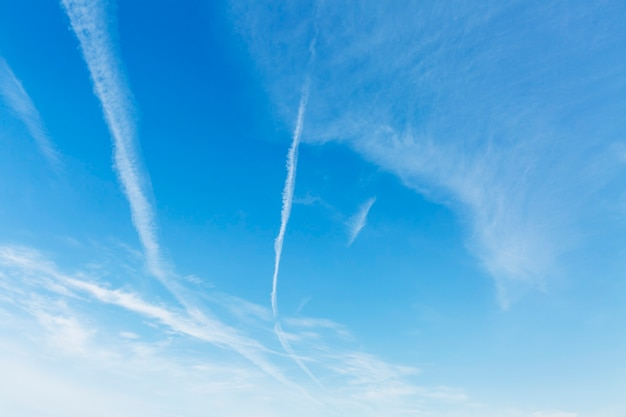Clear blue sky with airplane footprints. space for text. background.