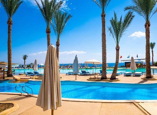 ホテルの澄んだ青いプール