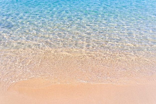 Clear blue transparent tropical summer beach water background