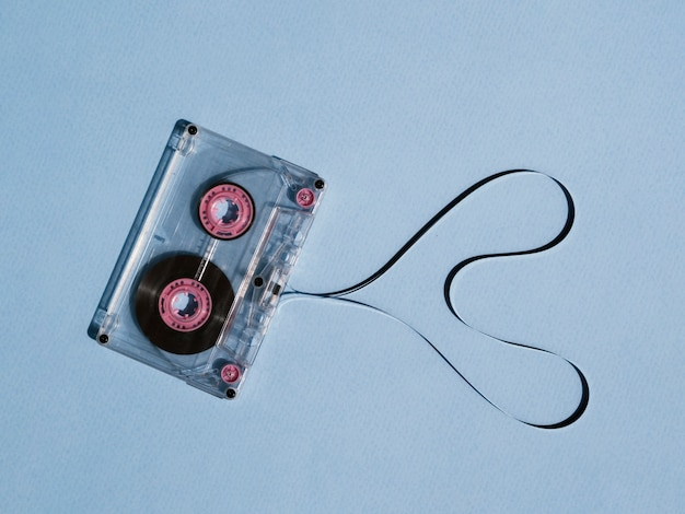 Clear broken cassette tape with shaped heart