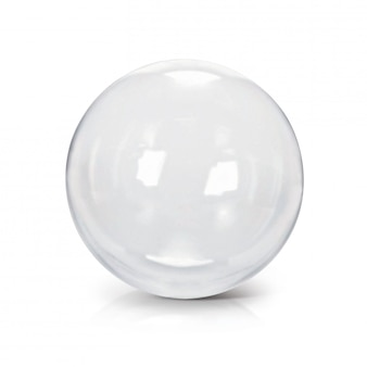 Clear glass ball 3d illustration on white background