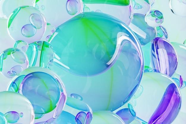 透明なガラスビーズのグラデーションカラー、抽象的な背景。 3dレンダリング