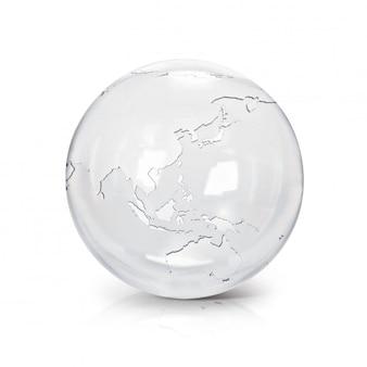 Clear glass earth globe