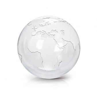 Clear glass globe 3d illustration europe and africa map on white isolated