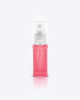 Clear hand sanitizer in a clear pump bottle isolated on white