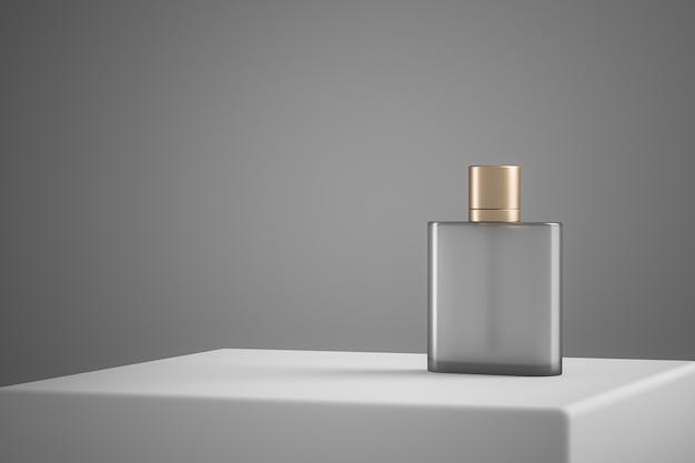 白いステージの透明な香水瓶、化粧品のプレゼンテーションのためのミニマリストシーン