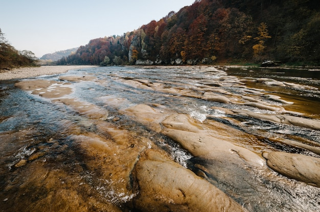 Clear river with rocks leads towards mountains. lit by sunset. the mountain river.