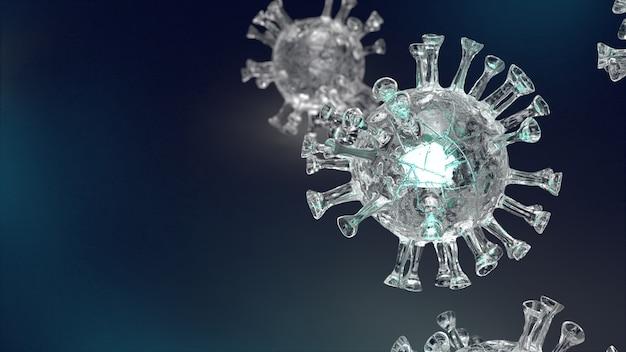 コロナウイルスのコンテンツの3dレンダリングのための黒い背景のウイルスをクリア