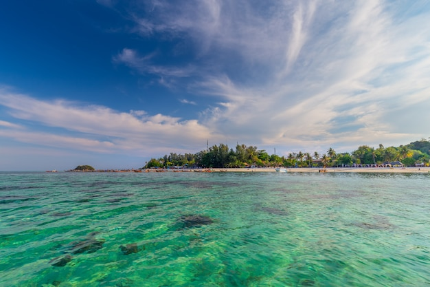Clear water and beautiful sky at the paradise island in the tropical sea of thailand