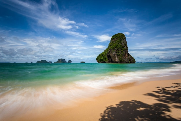 Clear water and blue sky at railay beach