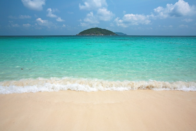 Clear water and white sand at similan island south of thailand.