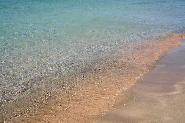 ギリシャのクレタ島の熱帯の砂浜の澄んだ波。