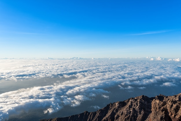 Clearly sky above the cloud at sunrise from summit of mount rinjani