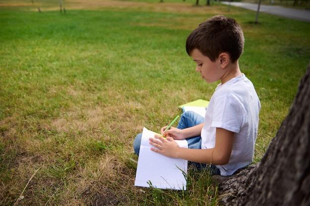 ペンを持って宿題をする賢い男子生徒、コピーブックに書く、数学の課題を解く、公園の緑の芝生に座る。学校に戻る、知識、科学、教育、学習の概念。