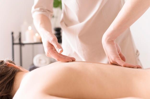 Client having back massage
