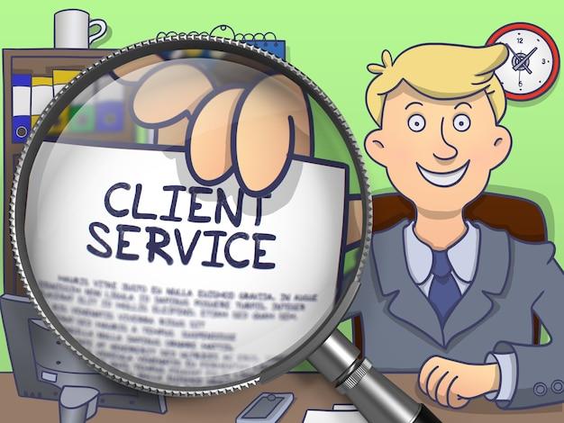 ビジネスコンセプトを説明するためのビジネスマンの手による紙のクライアントサービス。
