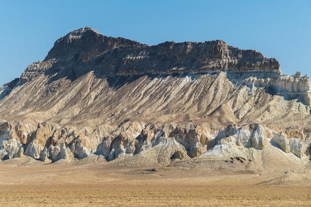 Cliff on the edge of the ustiurt plateau, kazakhstan.