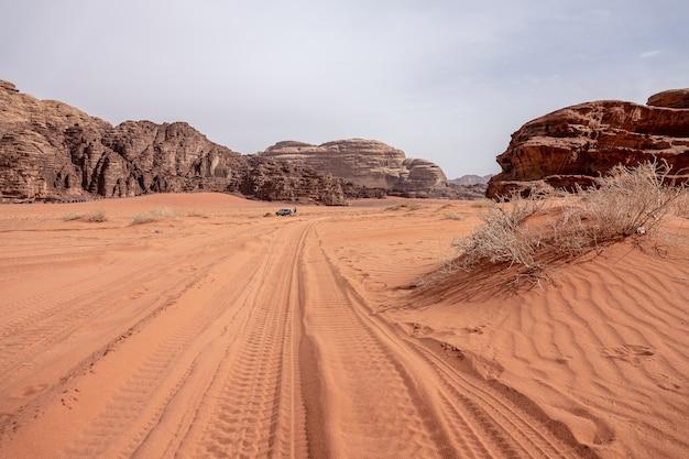 昼間の曇り空の下で乾いた草でいっぱいの砂漠の崖と洞窟