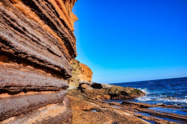 スペインの澄んだ青い空の下の水の前の崖