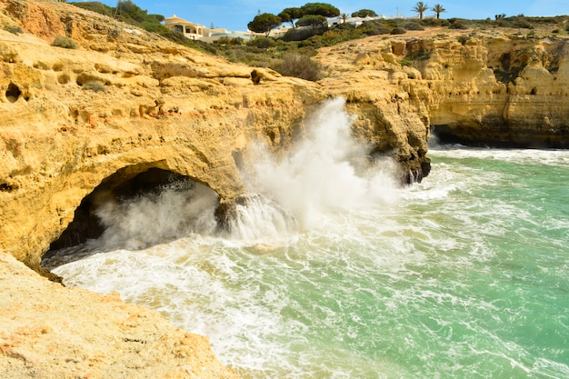 Cliffs inbenagil, village of the portuguese algarve