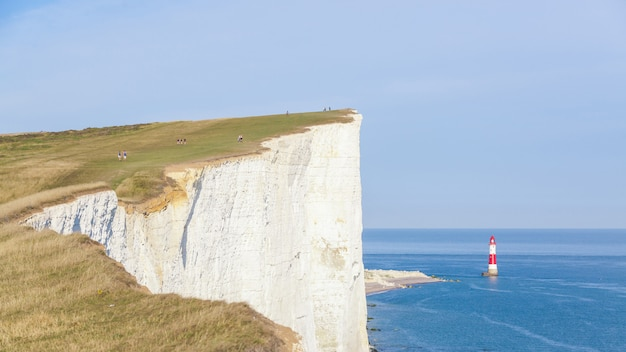 Cliffs, lightouse and sea in southern england