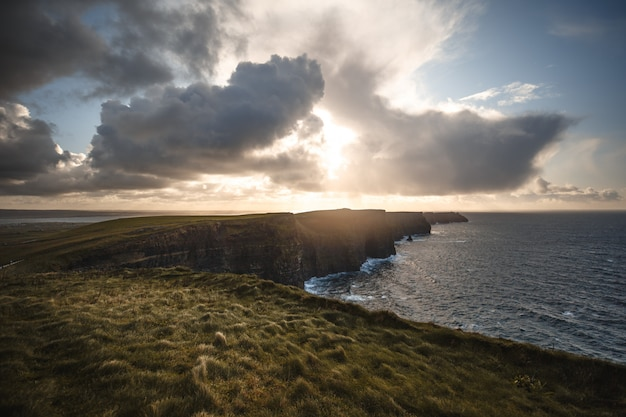Cliffs of moher with sunshine