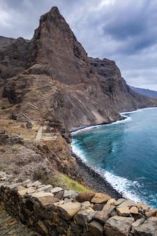 Cliffs and ocean view in santo antao island, cape verde