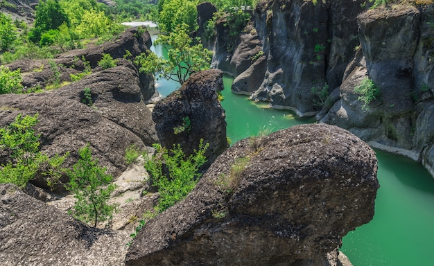 Cliffs of the venetikos river, greece