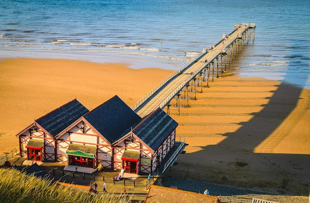 Clifftop view of pier at saltburn by the sea