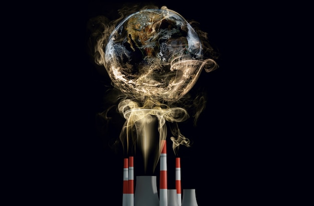 Climate change and global warming effect this element finished by nasa 3d illustration rendering Premium Photo