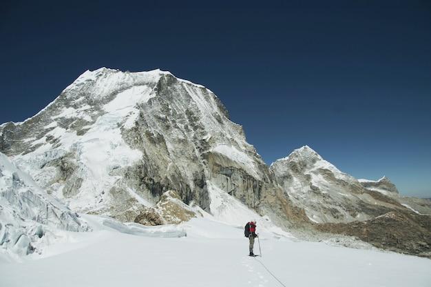 The climb on the ranrapalca peak in cordilleras