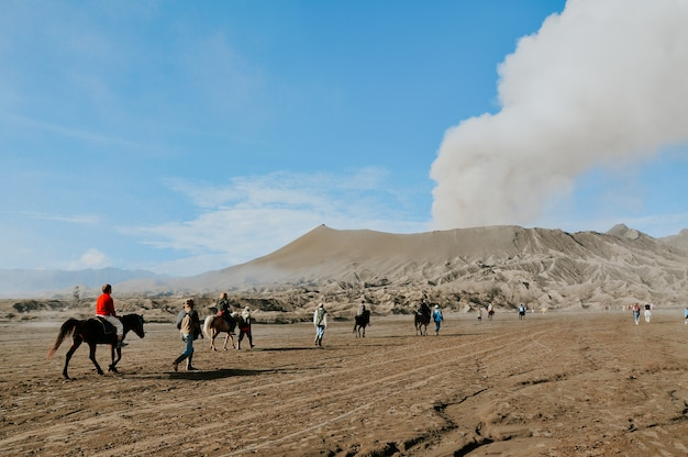 Climber journey to mount bromo by riding a horse