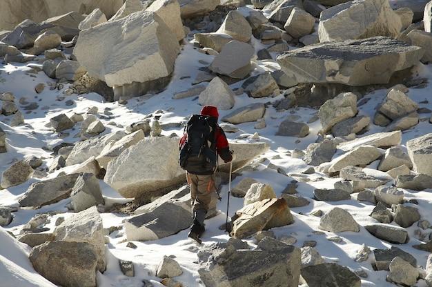 Climber in the stone on glacier