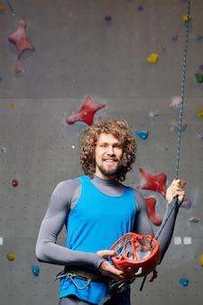 Climber with helmet