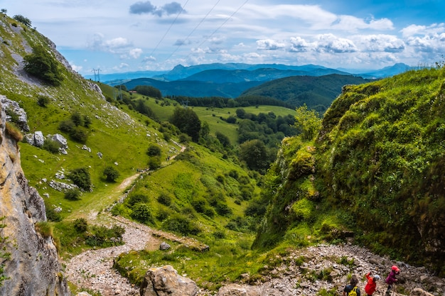 Climbing path to the cave of san adrian. mount aizkorri 1523 meters, the highest in guipuzcoa. basque country. ascent through san adrian and return through the oltza fields