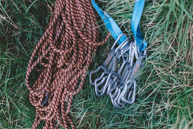 Climbing rope and carabiners