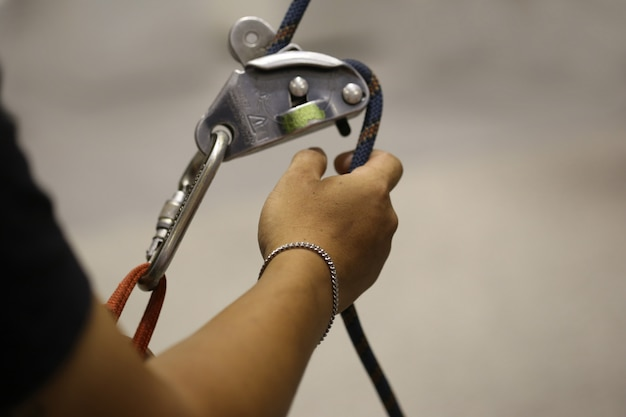 Climbing simulator, hand with rope