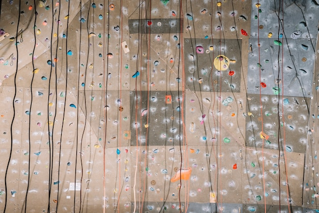 Climbing wall with belays