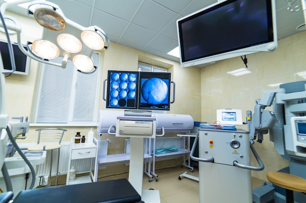 Clinic interior with operating surgery table