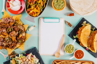 Clipboard amidst Mexican food